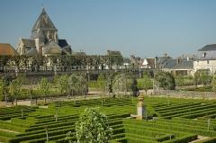 Eglise paroissiale Saint-Etienne - English: The château de Villandry, vegetable garden and Église Saint-Étienne de Villandry