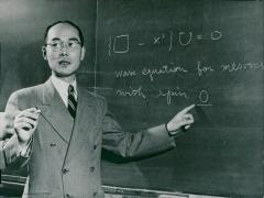 Château de Boisbonnard -  Hideki Yukawa at the blackboard in Columbia University - Vintage photo