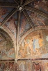 Château de Villesavin - Deutsch: Schloss Villesavin, Département Loir-et-Cher/Frankreich - Kreuzrippengewölbe und Freskenmalereien der Kapelle im nordöstlichen Pavillon