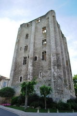 Donjon quadrangulaire, dit Tour de César - English: Stone keep in Beaugency (France), XIth century, 36 metres high. Nowadays the interior which once numbered five floors is in ruins.