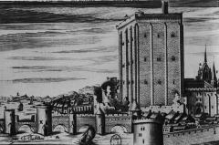 Donjon quadrangulaire, dit Tour de César - Italiano: Incisione secentesca di Claude di Chastillon raffigurante il castello di Beaugency