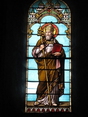 Eglise Saint-Etienne - English: Pope Leon IX. Stained-glass window in Saint-Étienne church in Château-Renard, set in collateral chapel of north transept, east side. This side has two windows, this is the one on the left. Some writing underneath it says: