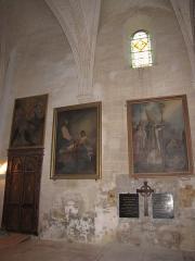Eglise Saint-Etienne - English: Château-Renard, Saint-Étienne church. North transept, north wall. Door towards the sacristy.