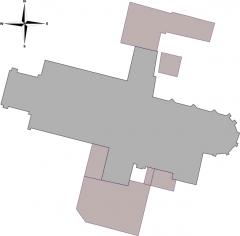 Eglise Saint-Etienne - Français:   plan de l\'église Saint-Étienne de Jargeau, Loiret, Centre, France. Cette carte a été créée à partir des données du projet OpenStreetMap et de File:Simple compass rose.svg