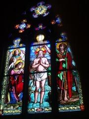 Eglise de la Madeleine - English: In St Madeleine church, Montargis, Loiret, Gâtinais, région Centre, France. Stained-glass window featuring Jesus' baptism.