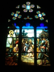 Eglise de la Madeleine - English: In St Madeleine church, Montargis, Loiret, Gâtinais, région Centre, France. Stained-glass window featuring converted Japanese; this is the only stained-glass window in a French church, featuring Japanese people. It is the second window in the south aisle, coming from the main entrance which opens on the rue du Cerceau (west side of the church).