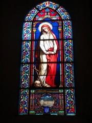 Eglise de la Madeleine - English: In St Madeleine church, Montargis, Loiret, Gâtinais, région Centre, France. Stained-glass window featuring St Madeleine. At the bottom, the arms of Montargis.