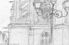 Eglise de la Madeleine - English: pencil drawing of a detail of the Montargis cathedral in France