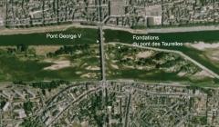 Pont George V -  Tracés du pont George V et du pont des Tourelles (détruit en 1760) à Orléans - département du Loiret - France