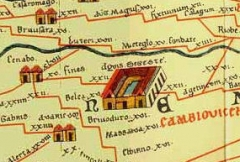 Vestiges d'un ensemble monumental gallo-romain à vocation cultuelle - English: Aquis Segeste: a derivative work of File:TabulaPeutingeriana.jpg