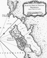 Citadelle - Français:   Plan de Bonifacio fait par Jacques-Nicolas Bellin, publié en 1764