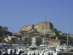 Citadelle - English: Bonifacio citadel seen from port