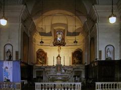 Eglise paroissiale Sainte-Marie -  Sartène, Corse-du-Sud - Chœur de l'église paroissiale Sainte-Marie. L'autel (maître-autel, gradins, tabernacle) est classé au titre des Monuments historiques