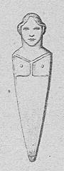 Figure antique d'Appriciani (rocher sculpté en forme de tête humaine) - Corsu: Illustrazione di a stantara d'Apricciani, in a Storia illustrata di a Corsica, di prete Galletti.