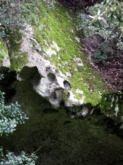 Site archéologique de Capula -  Capula (Corse-du-Sud, France) -   Bord supérieur d'une cavité dans un rocher (forme de visage).   .