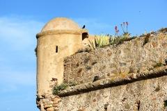 Château-fort -  Algajola, Balagne (Haute-Corse) - Gros plan sur l'échauguette du fort.