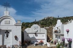 Eglise de la Sainte-Trinité - English: View from the cemetery which is around the Église de la Sainte-Trinité d'Aregno to the village of Sant'Antonino (Haute Corse).