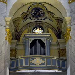 Eglise Sainte-Marie -  Calvi, Balagne (Haute-Corse) - Orgue de tribune de l'église Sainte-Marie-Majeure. La partie instrumentale de l'orgue est classée au titre des Monuments historiques.
