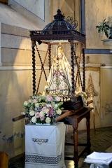 Chapelle de la Nativité, dite chapelle Notre-Dame de Lazio -  Corbara, Balagne (Haute-Corse) - À l\'intérieur de la chapelle Notre-Dame de Lazio: groupe sculpté \