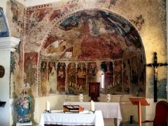 Chapelle Santa-Maria-Assunta -  Favalello, Bozio (Corse) - Fresques à l'intérieur du cul de four de l'abside de Santa Maria Assunta, chapelle romane du Xe siècle. Édifice et fresques sont classés Monuments historiques