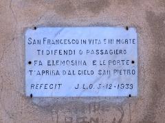 Eglise Saint-François-Xavier -  Monticello (Corsica) - Plaque à l'entrée de l'église San Francescu