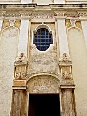 Eglise Saints-Pierre-et-Paul - Français:   Piedicroce, Castagniccia (Corse) - Entrée de l\'église (portail, fenêtre, corniche, pilastres, chapiteaux) Saint-Pierre et Saint-Paul (MH)