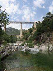 Viaduc sur le Vecchio ou pont Eiffel (également sur commune de Vivario) - English: Vecchio bridge