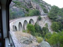 Viaduc sur le Vecchio ou pont Eiffel (également sur commune de Vivario) -  Corsica - Venaco-Vivario train - a viaduct