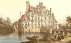 Domaine de Beaumesnil (également sur commune de Gouttières) - Deutsch:   Schloss Beaumesnil, colorierte Zeichnung