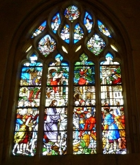 Eglise Notre-Dame-de-la-Couture - English: 16th century window of the church Notre-Dame de la Couture in Bernay (Eure, France). It shows the entry of Jesus in Jerusalem.