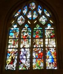 Eglise Notre-Dame-de-la-Couture - English: 16th century window of the church Notre-Dame de la Couture in Bernay (Eure, France). It shows the entry of Jesus in Jerusalem.