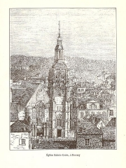 Eglise Sainte-Croix - English: Engraving of the church Sainte-Croix in Bernay in the book Le Département de L'Eure (1882) by Victor Adolphe Malte-Brun (1816 – 1889).