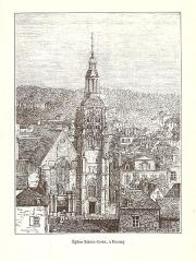 Eglise Sainte-Croix - English: Engraving of the church Sainte-Croix in Bernay in the book Le Département de L'Eure (1882) by Victor Adolphe Malte-Brun (1816 – 1889).