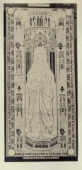 Eglise - English: Illustration after a stone rubbing by Léon Le Métayer-Masselin in his book Collection de dalles tumulaires de la Normandie. It shows a ledger stone of Jeanne de Tilly (1448-1495) that is now in the church of Boisney (Eure, France).