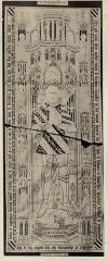 Eglise - English: Illustration after a stone rubbing by Léon Le Métayer-Masselin in his book Collection de dalles tumulaires de la Normandie. It shows a ledger stone of Robert de Flocques (1437-1461) that is now in the church of Boisney (Eure, France).