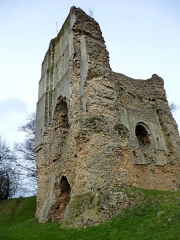 Ruines du château -  On the northeast side of the keep you can see the rests of a Romanesque fireplace and chimney. An der Nordostseite kann man die Reste eines romanischen Kamins sehen.