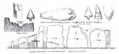 Allée couverte - Français:   Supports côté est de l\'allée couverte de Dampsmesnil dessinée par Léon Coutil vers 1897