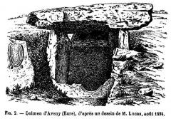 Allée couverte - Français:   Gravure représentant l\'entrée de l\'allée couverte de Dampsmesnil en 1894 après la découverte de la partie inférieure de la dalle percée