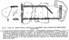 Allée couverte - Français:   Vue en plan de l\'allée couverte de Dampsmesnil relevé par Martial Imbert lors de ses fouilles en 1894