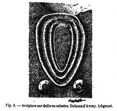 Allée couverte - Français:   Gravure représentée sur l\'un des supports de l\'allée couverte de Dampsmesnil dessinée par Adrien de Mortillet