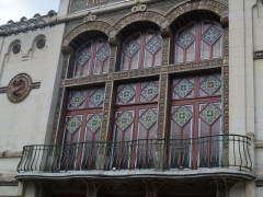 Théâtre municipal L'Eden - English: Detail of the façade of the Théâtre des sept collines (