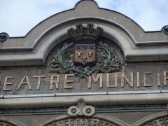 Théâtre municipal L'Eden - English: Detail of the summit of the Théâtre des sept collines (