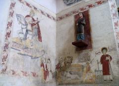 Eglise Sainte-Valérie, dite église du Moutier - Français:   Felletin - Église Sainte-Valérie - Nef - Peintures murales: saint Laurent et saint Martin. La statue du XVIe ou XVIIe siècle en bois polychrome représente un diacre, peut-être saint Laurent.