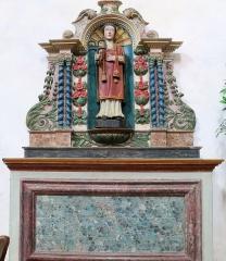 Eglise Sainte-Valérie, dite église du Moutier - Français:   Felletin (Creuse, France), église Sainte-Valérie, nef, un autel secondaire avec statue de Saint Léonard, inscrite M.H..