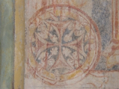 Eglise Saint-Jean et chapelle Saint-Fiacre - English: Mural depicting a Cross pattée, symbol of the Knights Templar, in the chapel of St. John Commandery Paulhac, in the commune of Saint-Etienne-de-Fursac, Creuse (Limousin), France. [translated by Google, modified by contributor]