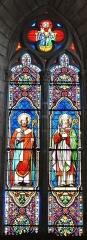 Eglise Saint-Martin - Français:   Vitrail représentant saint Martin de Tours et saint Séverin de Cologne, église de Vallière, Creuse, France.