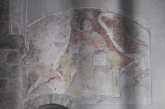Eglise Saint-Julien - Deutsch: Katholische Pfarrkirche Saint-Sauveur in Rochechouart im Département Haute-Vienne (Nouvelle-Aquitaine/Frankreich), Wandmalerei vermutlich aus dem 15. Jahrhundert; Darstellung: Majestas Domini