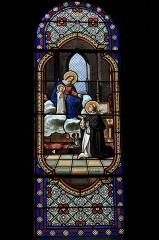 Eglise Saint-Julien - Deutsch:   Katholische Kirche Saint-Sauveur in Rochechouart im Département Haute-Vienne (Nouvelle-Aquitaine/Frankreich), Bleiglasfenster; Darstellung: Heiliger Dominikus empfängt von Maria den Rosenkranz