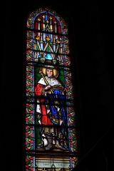 Eglise Saint-Germain - Deutsch: Bleiglasfenster in der Kirche Saint-Germain in Saint-Germain-les-Belles im Département Haute-Vienne in der Region Centre (Frankreich): Darstellung: hl. Ludwig