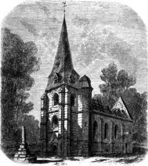 Ancienne église du Petit-Appeville - English:   View of the church of Petit-Appeville in 1850.